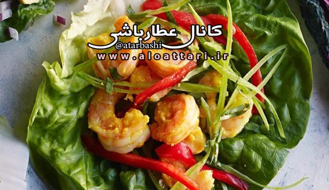 خوراک میگو در برگ کاهو